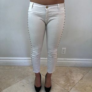 Zara white Low Rose Skinny Jeans with Studded side